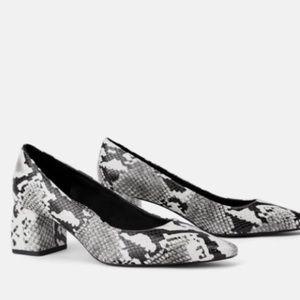 Zara Trafaluc snake print block heel pumps 10